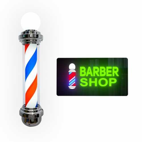 Kit Placa Neon E Barber Pole Giratório Com Globo de Led 85cm