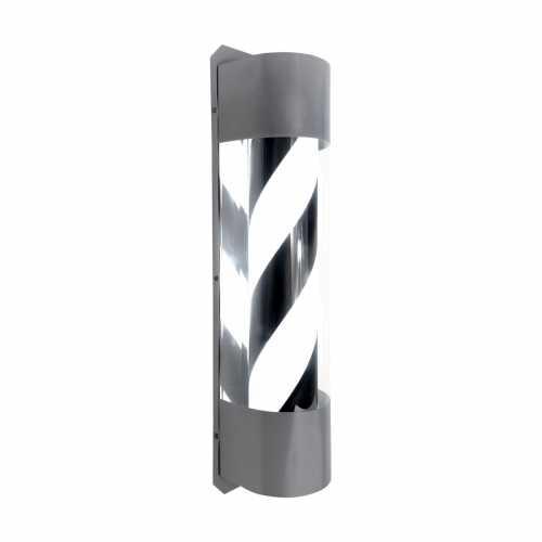Barber Pole Led Barbearia Preto E Branco 59cm