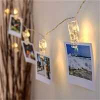 Varal de 1,5m Com 10 Prendedor de LED Para Fotos
