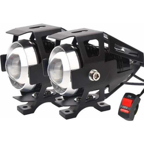Par Farol Milha Universal LED Cree Moto U5 Com Interruptor