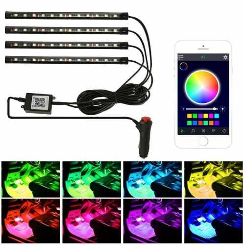 LED RGB Tuning Iluminação Interior Carro Aplicativo e Sensor Musica