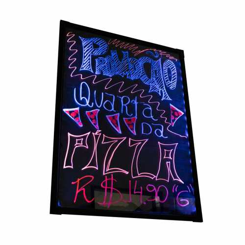Lousa De Led Quadro Luminoso Com Suporte E 5 Canetas 80 x 60cm Efeito Neon