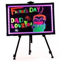 Lousa De Led Quadro Luminoso 50cm x 70cm Efeito Neon + Tripe + Canetas