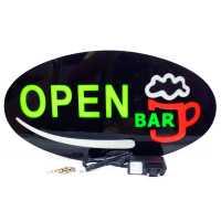Placa De Led Letreiro Luminoso 43cm x 23cm Efeito Neon Open Bar Aberto
