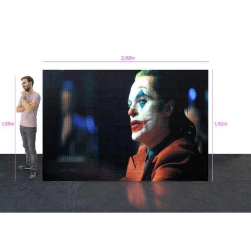 Painel De Led P5 2,88m x 1,92m E Vídeo Processadora Full Color Uso Interno P5