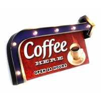 Luminária De Parede Vintage Placa de Led COFFEE HERE para Decoração Retrô