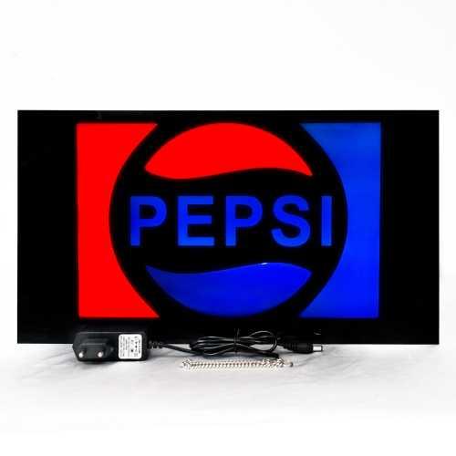 Placa De Led 44 x 24cm Letreiro Luminoso Efeito Neon Pepsi