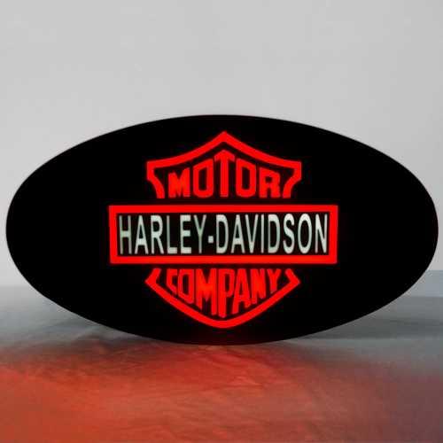 Placa De Led Letreiro Luminoso com efeito Neon 43cm x 23cm HARLEY DAVIDSON