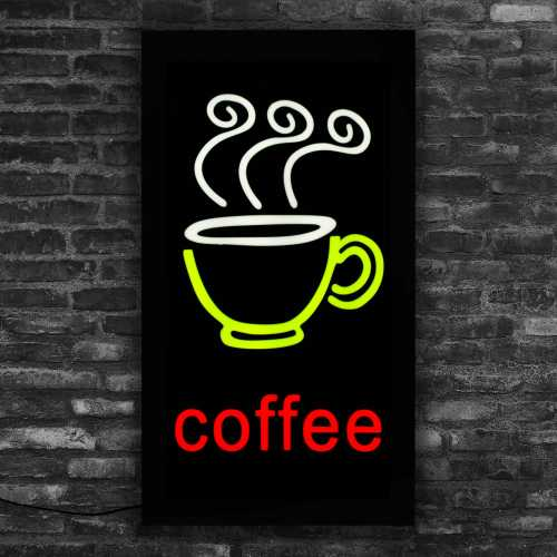 Placa De Led Café Letreiro Luminoso Coffee 44cm X 24cm Neon