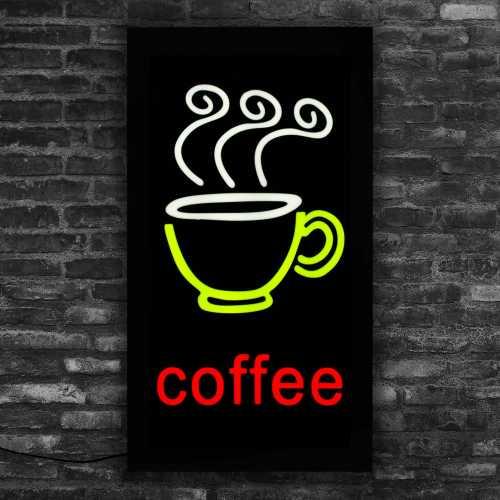 Placa De Led Café Letreiro Luminoso Coffee 44cm X 24cm Neon