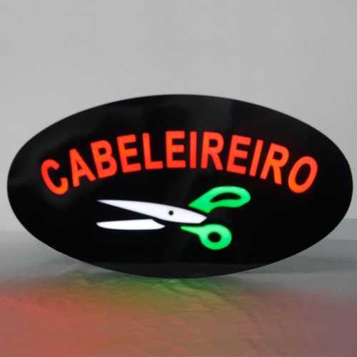Placa De Led Cabeleireiro 43cm x 23cm Letreiro de Sinalização Luminoso Neon