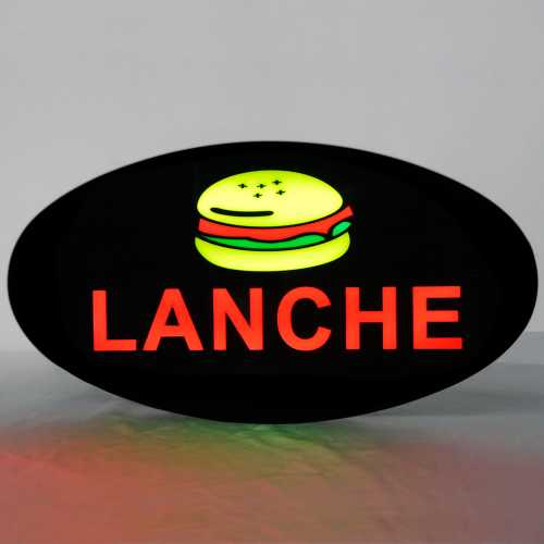 Placa De Led Lanche 43cm x 23cm Letreiro de Sinalização Luminoso Neon
