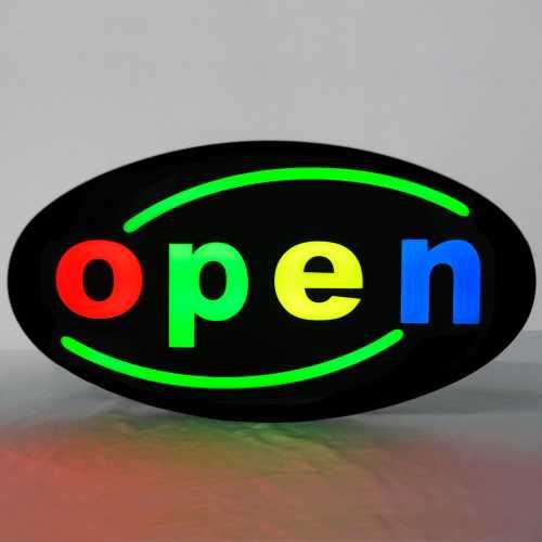 Placa De Led OPEN Letreiro de Sinalização Luminoso 43cm x 23cm Efeito Neon - Aberto