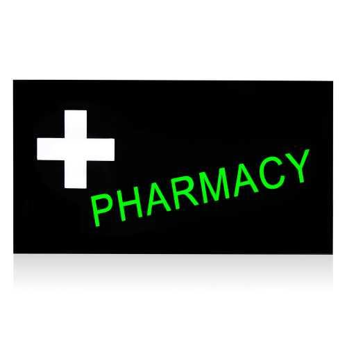 Placa De Led Pharmacy Letreiro Luminoso 44cm x 24cm Farmácia Efeito Neon