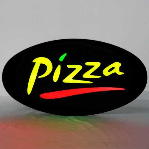 Placa De Led Pizza 43cm x 23cm Letreiro de Sinalização Luminoso Neon
