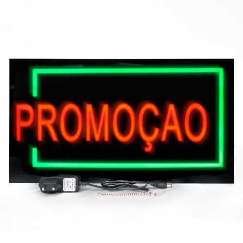 Placa De Led Promoção 44cm x 24cm Letreiro de Sinalização Luminoso Neon