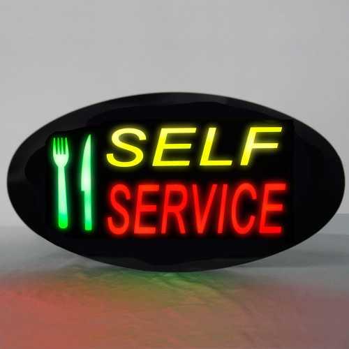 Placa De Led Self Service 43cm x 23cm Letreiro de Sinalização Luminoso Efeito Neon