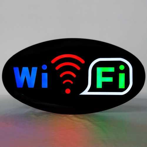 Placa De Led Wifi 43cm x 23cm Letreiro de Sinalização Luminoso Internet Neon