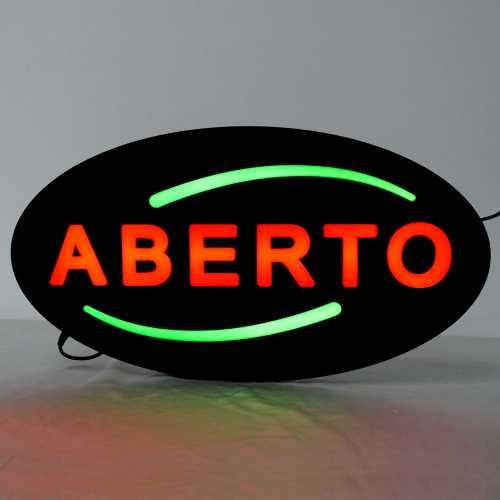 Placa De Led Aberto 43cm x 23cm Letreiro de Sinalização Luminoso Open Neon