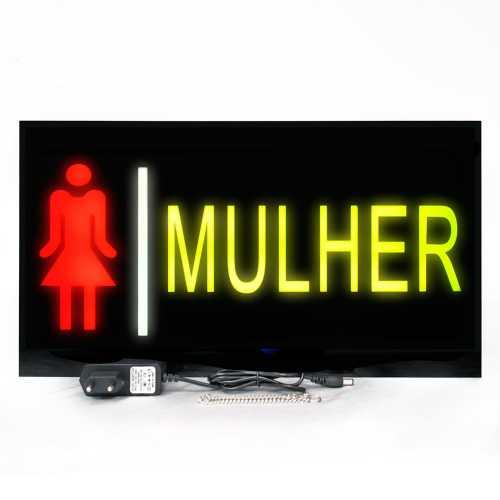 Placa de Led Banheiro Feminino 44cm x 24cm Luminoso de Sinalização Wc Mulher