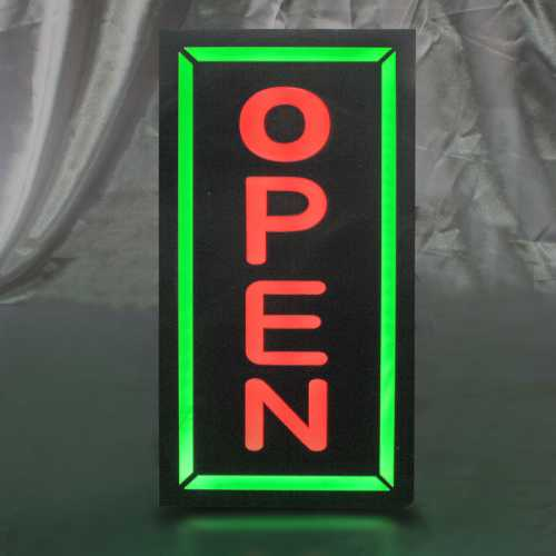 Placa De Led Open na Vertical 44cm x 24cm Letreiro Luminoso Neon