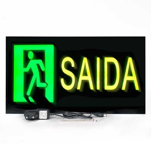 Placa De Led Saída de Emergência 44cm x 24cm  Letreiro de Sinalização Luminoso Neon
