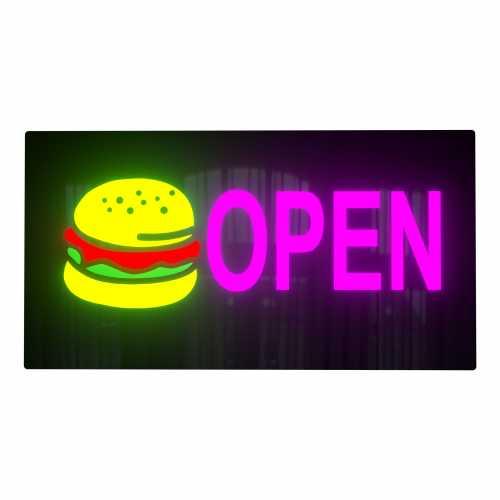 Placa LED Open Hambúrguer Letreiro de Sinalização Luminoso 44cm x 24cm Neon