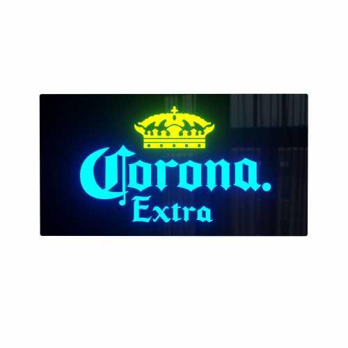 Placa De Led Corona 44cm x 24cm Letreiro de Sinalização Luminoso Cerveja