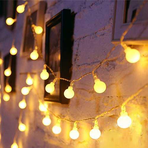 Varal 10m Com 100 Bolas de LED Branco Quente 9 Efeitos 220v