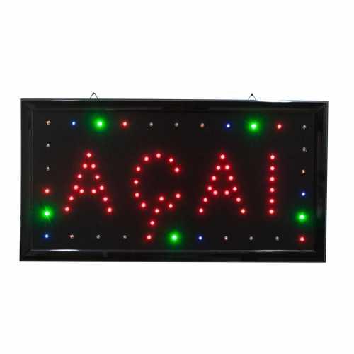 Letreiro De Led Pub Placa de Sinalização Escrito Açaí com Efeito Luminoso 48cm x 25cm