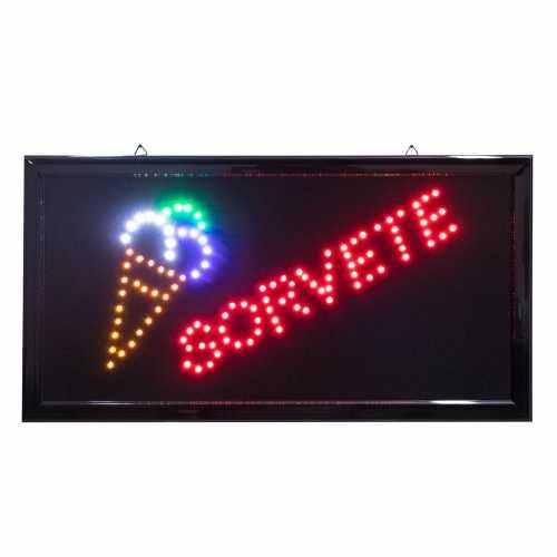 Letreiro De Led Pub Placa de Sinalização Sorvete com Efeito Luminoso 48cm x 25cm