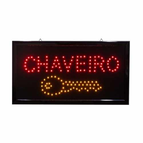 Letreiro De Led Pub Placa de Sinalização Escrito Chaveiro com Efeito Luminoso 48cm x 25cm