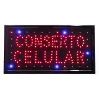 Letreiro De Led Pub Placa de Sinalização Conserto celular com Efeito Luminoso 48cm x 25cm