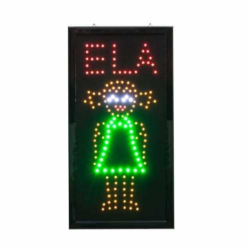 Letreiro De Led Pub Placa de Sinalização Banheiro Escrito Ela Luminoso 48cm x 25cm