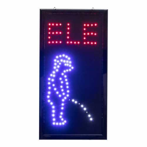 Letreiro De Led Pub Placa de Sinalização Banheiro Ele com Efeito Luminoso 48cm x 25cm