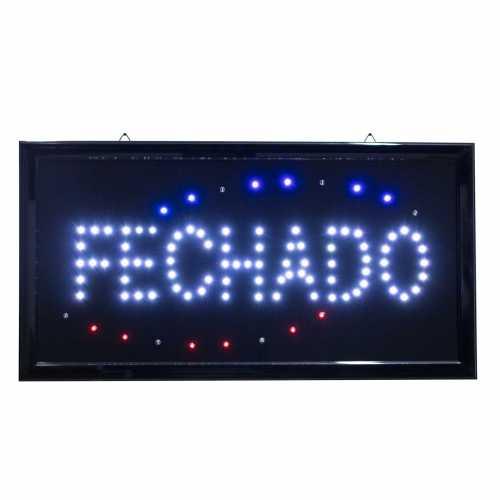 Letreiro De Led Pub Placa de Sinalização Fechado com Efeito Luminoso 48cm x 25cm