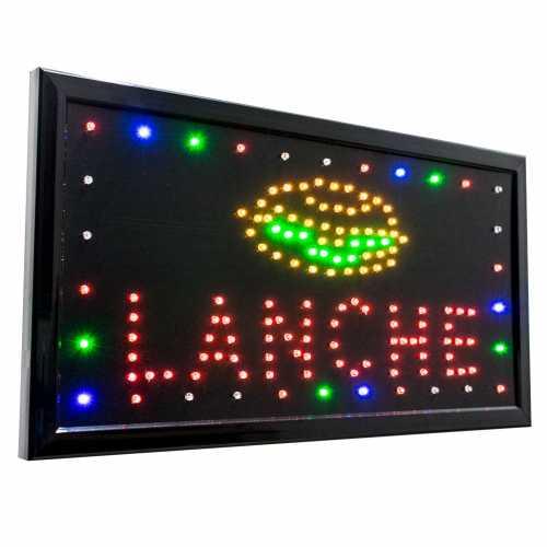 Letreiro De Led Pub Placa de Sinalização Escrito Lanche com Efeito Luminoso 48cm x 25cm