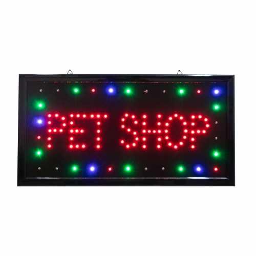 Letreiro De Led Pub Placa de Sinalização Escrito Pet Shop com Efeito Luminoso 48cm x 25cm