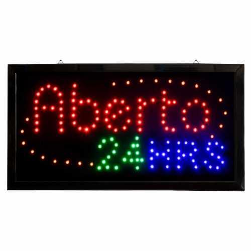 Letreiro De Led Pub Placa de Sinalização Aberto 24hrs com Efeito Luminoso 48cm x 25cm