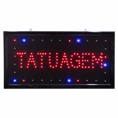Letreiro De Led Pub Placa de Sinalização Tatuagem com Efeito Luminoso 48cm x 25cm