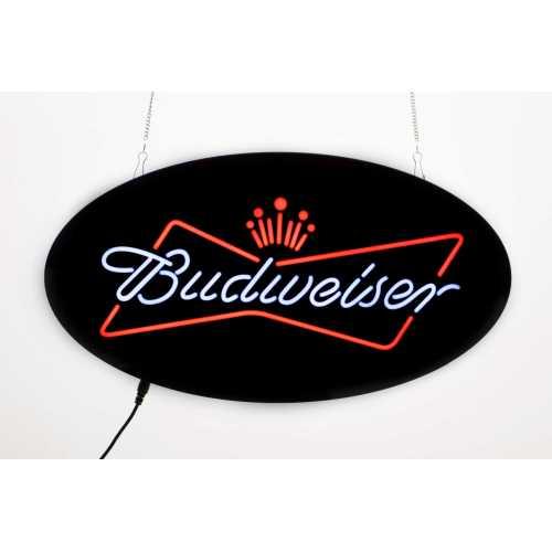 Placa De Led 43x23cm Letreiro Luminoso Efeito Neon Budweiser