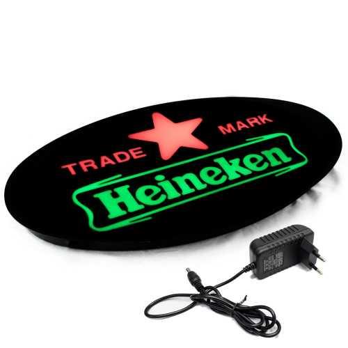 Placa De Led 43x23cm Letreiro Luminoso Efeito Neon Heineken