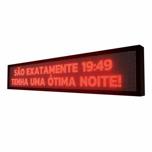 Painel De LED SMD Vermelho Interno 2m x 40cm Letreiro Digital