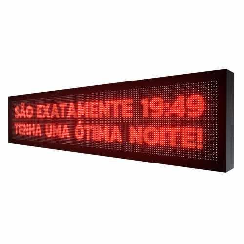 Painel de LED 167cm x 40cm Letreiro Digital SMD Vermelho Uso interno