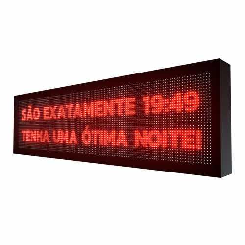 Painel de LED 135cm x 40cm Letreiro Digital SMD Vermelho Uso interno